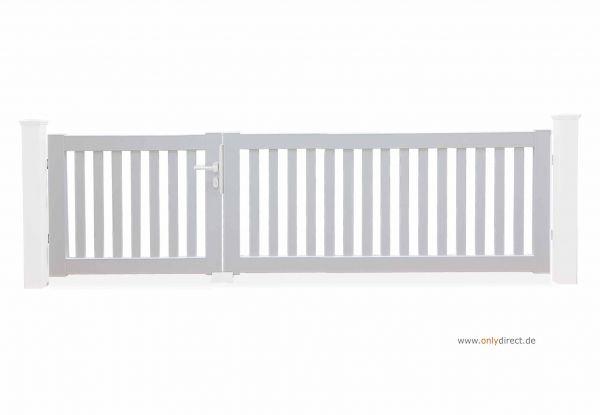 Asymmetrisches Gartentor PURE - Mahagoni Hartholz weiß - Preise ohne Pfosten + Zubehör