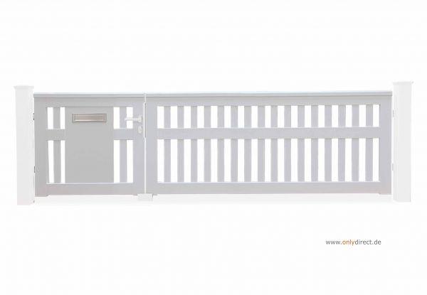 Asymmetrisches Holztor ROOF - Mahagoni Hartholz weiß inkl. Briefkasten - Preise ohne Zubehör und Pfosten