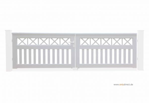 Gartentor CROSS - Mahagoni Hartholz (FSC) weiß lackiert - Preise ohne Pfosten + Zubehör