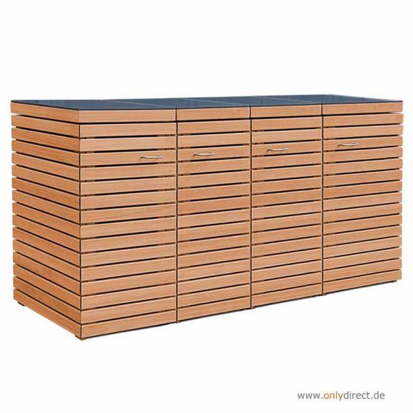 4er Mülltonnenbox CUBUS - Astfreies FSC Eukalyptus Hartholz - Natur geölt