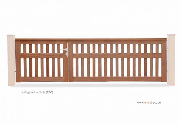 Asymmetrisches Gartentor CUBE open - Mahagoni Holz Natur - Preise ohne Pfosten + Zubehör