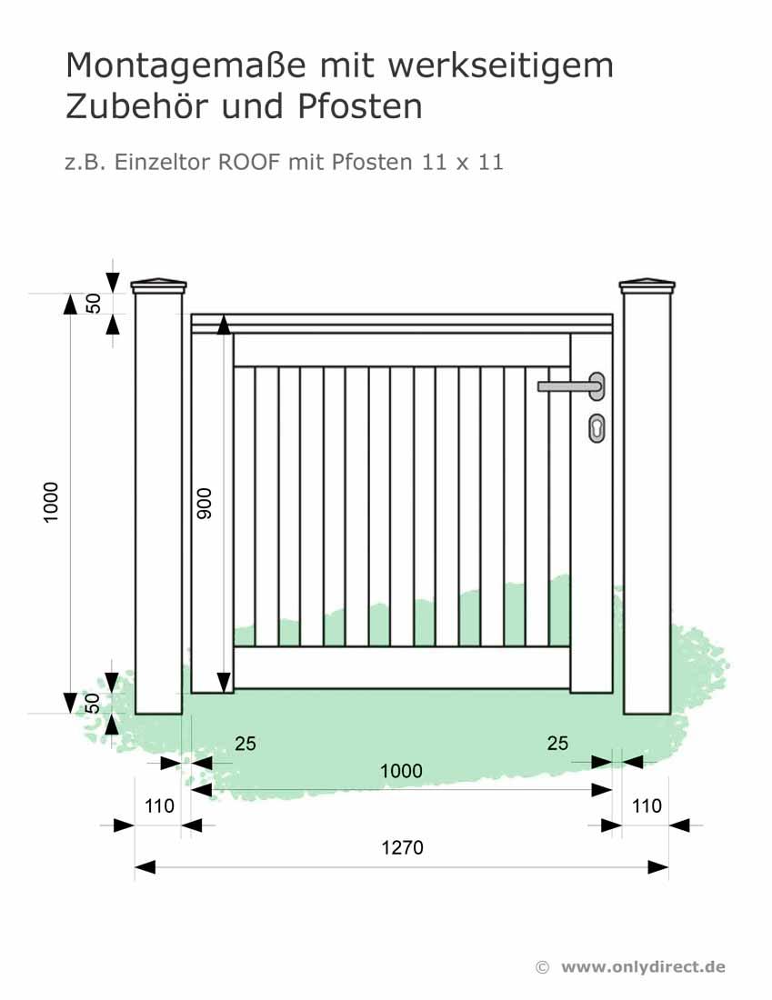 Montagemasse-Gartentore-ONLY-Einzeltor