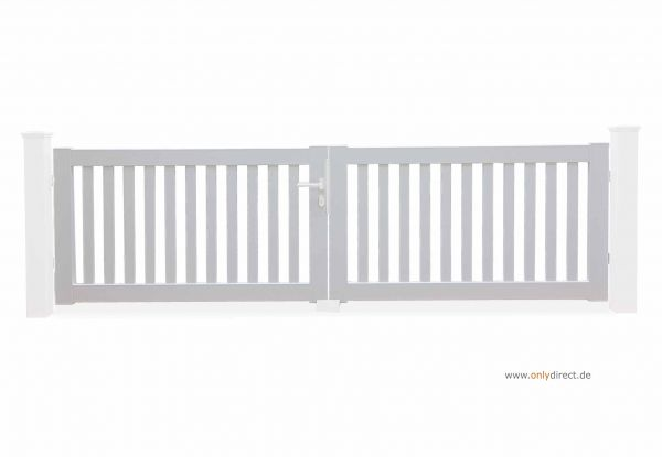 Gartentor PURE - Astfreies Mahagoni Hartholz (FSC) Weiß lackiert