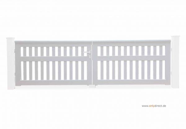 Gartentor CUBE open - Mahagoni Hartholz (FSC) weiß lackiert - Preis ohne Pfosten + Zubehör