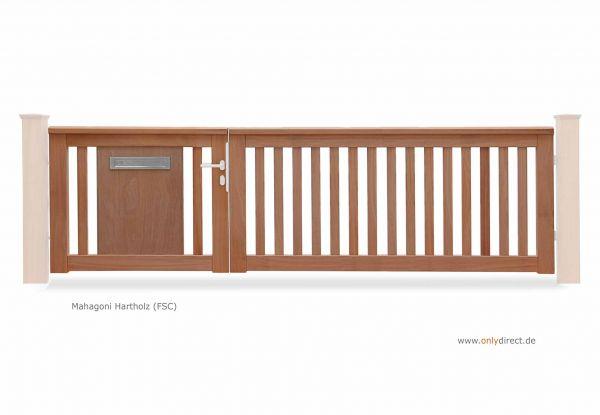 Asymmetrisches Holztor ROOF - Mahagoni Natur mit integrierter Briefkasten