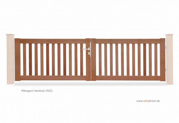 Gartentor PURE - Astfreies Mahagoni Hartholz (FSC) Natur