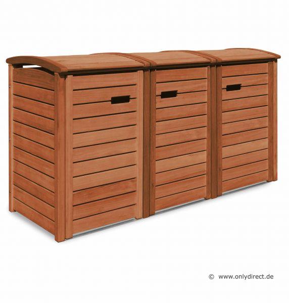 3er Mülltonnenbox CLASSIC - FSC Eukalyptus Hartholz - Natur geölt