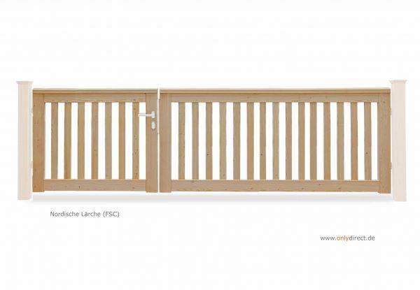 Asymmetrisches Gartentor ROOF - nordische Lärche (FSC) Natur - Preis ohne Pfosten + Zubehör